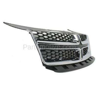Aftermarket Replacement - GRL-1333C CAPA 11-14 Avenger Front Grill Grille Chrome Molding w/Gray Insert CH1200348 - Image 2