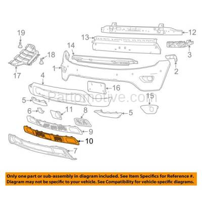 Aftermarket Replacement - GRL-1223C CAPA 14-16 Grand Cherokee Lower Front Bumper Grille Face Bar Insert Grill Gray Textured - Image 3
