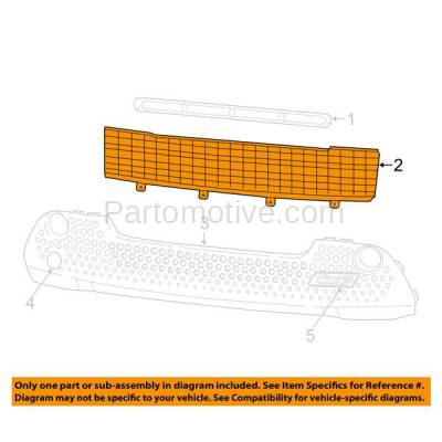 Aftermarket Replacement - GRL-1358C CAPA NEW 12-15 Fiat 500 Front Lower Bumper Grill Grille FI1036100 1RZ48KX7AA - Image 3