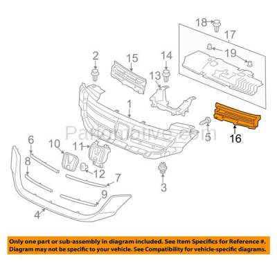 Aftermarket Replacement - GRL-1024LC CAPA 13-15 Accord 4-Door Sedan Front Grill Grille Insert Driver Side LH - Image 3