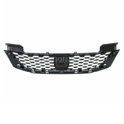 Aftermarket Replacement - GRL-1869C CAPA 13 14 15 Civic Sedan Front Grill Grille Textured HO1200216 71121TR3A01 - Image 3