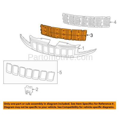 Aftermarket Replacement - GRL-1345C CAPA 14-15 Grand Cherokee Front Grill Grille Insert 3-Piece SET 68143073AC - Image 3