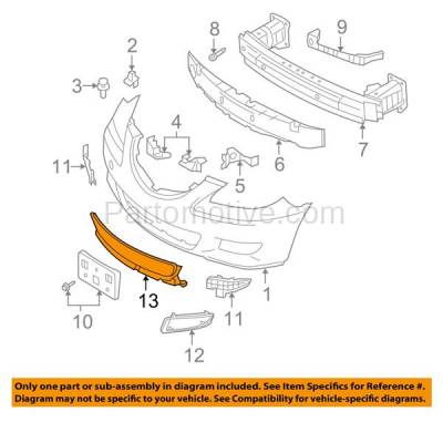 Aftermarket Replacement - GRL-2060C CAPA 07-09 Mazda3 Front Lower Bumper Grill Grille Black MA1036105 BR5H501T0 - Image 3