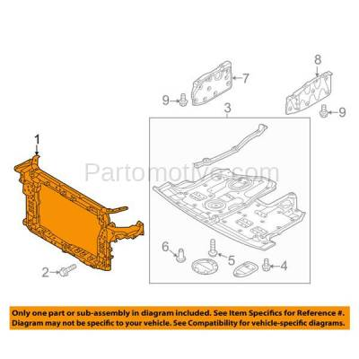 Aftermarket Replacement - RSP-1406 2013-2018 Hyundai Santa Fe Sport (Base, Luxury, Premium, SE) (2.4 Liter Engine) Front Center Radiator Support Core Assembly Primed Plastic - Image 3