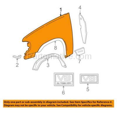 Aftermarket Replacement - FDR-1272R 95-01 Explorer Front Fender Quarter Panel Passenger Side FO1241179 XL2Z16005DA - Image 3