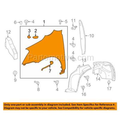 Aftermarket Replacement - FDR-1777L 09-17 Chevy Traverse Front Fender Quarter Panel Driver Side GM1240360 20802980 - Image 3