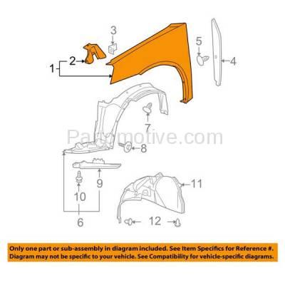Aftermarket Replacement - FDR-1351R 05-10 G6 Front Fender Quarter Panel Right Hand Passenger Side GM1241321 15882266 - Image 3
