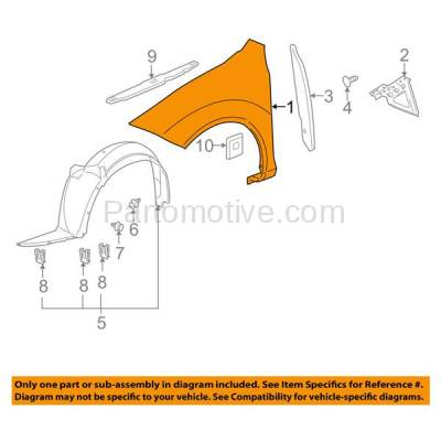 Aftermarket Replacement - FDR-1167L 2005-2010 Chevrolet Cobalt & Pontiac G5 (Coupe & Sedan) Front Fender Quarter Panel Primed Steel Left Driver Side - Image 3