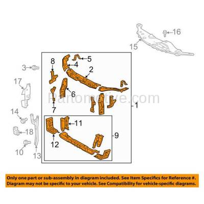 Aftermarket Replacement - RSP-1734 2007-2011 Toyota Camry (Base, CE, Hybrid, LE, SE, XLE) (Japan Built) Front Center Radiator Support Core Assembly Primed Steel - Image 3