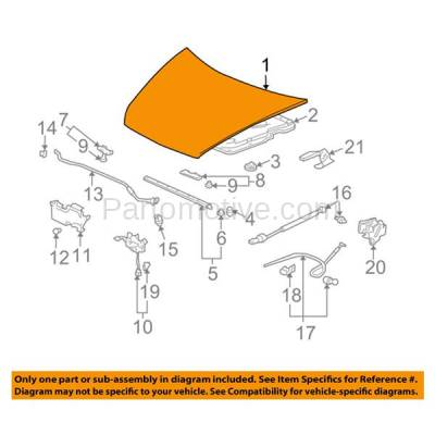 Aftermarket Replacement - HDD-1350 2003-2007 Honda Accord (EX. LX, SE) Coupe 2-Door (2.4 & 3.0 Liter Engine) Front Hood Panel Assembly Primed Steel - Image 3