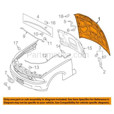Aftermarket Replacement - HDD-1203 2010-2012 Ford Mustang (Base, Boss 302, GT, Shelby GT500) V6/V8 (Coupe & Convertible 2-Door) Front Hood Panel Assembly Primed Steel - Image 3
