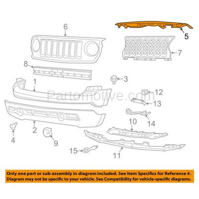 Aftermarket Replacement - GRL-1356C CAPA NEW 11-15 Patriot Radiator Support Cover Grill Grille Filler 68091530AA - Image 3