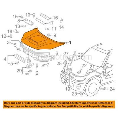 Aftermarket Replacement - HDD-1684 2001-2005 Toyota RAV4 RAV-4 (Base & L) Sport Utility 4-Door (2.0 & 2.4 Liter Engine) (with Scoop Type) Front Hood Panel Assembly Primed Steel - Image 3