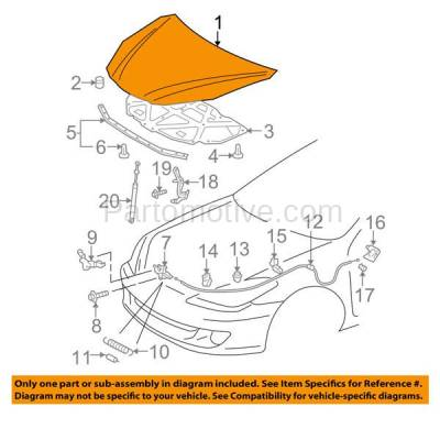 Aftermarket Replacement - HDD-1690 2004-2008 Toyota Solara (SE, SE Sport, SLE, Sport) 2.4 & 3.3 Liter Engine (Convertible & Coupe 2-Door) Front Hood Panel Assembly Primed Steel - Image 3