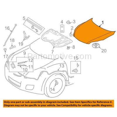 Aftermarket Replacement - HDD-1705 2009-2014 Toyota Matrix (AWD, Base, S, WRS, XR, XRS) Wagon 4-Door (1.8 & 2.4 Liter Engine) Front Hood Panel Assembly Primed Steel - Image 3