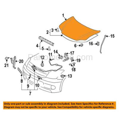 Aftermarket Replacement - HDD-1613 2005-2010 Scion tC (Coupe 2-Door) (2.4 Liter Engine) Front Hood Panel Assembly Primed Steelwith Windshield Washer Nozzle Holes - Image 3
