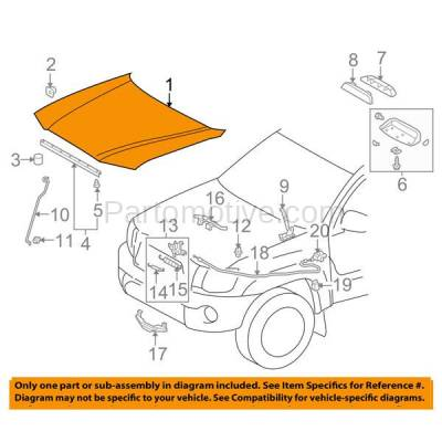 Aftermarket Replacement - HDD-1693 2005-2011 Toyota Tacoma Pickup Truck (Base, Pre Runner, X-Runner) (Models without Hood Scoop) Front Hood Panel Assembly Primed Steel - Image 3