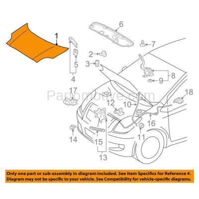 Aftermarket Replacement - HDD-1698 2007-2012 Toyota Yaris (Base & S) Sedan 4-Door (1.5 Liter Gas Engine) Front Hood Panel Assembly Primed Steel - Image 3