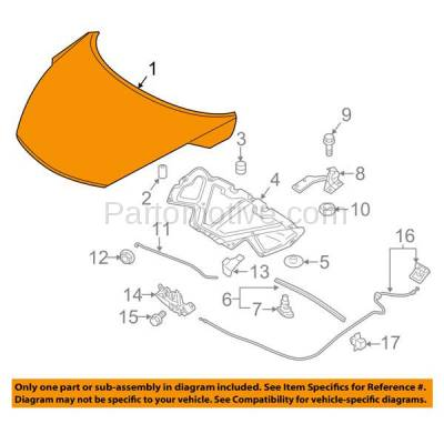 Aftermarket Replacement - HDD-1589 2011-2017 Nissan Juke (Nismo, Nismo RS, S, SL, SV) Sport Utility (1.6 Liter Turbocharged Engine) Front Hood Panel Assembly Primed Steel - Image 3