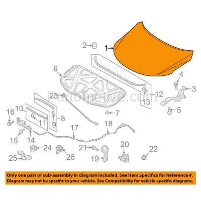 Aftermarket Replacement - HDD-1445 2010-2013 Kia Forte & Forte Koup (EX, LX, LX Plus, SX, SX Luxury) Coupe, Hatchback, Sedan Front Hood Panel Assembly Primed Steel - Image 3