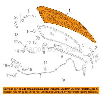 Aftermarket Replacement - HDD-1315 2012-2016 Chevrolet Sonic (LS, LT, LTZ, RS) (Hatchback & Sedan 4-Door) Front Hood Panel Assembly Primed Steel - Image 3