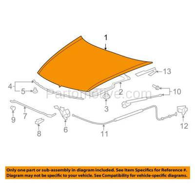Aftermarket Replacement - HDD-1360 2008-2012 Honda Accord (EX, EX-L, HFP, LX, LX-S) 2.4 & 3.5 Liter Engine (Coupe 2-Door) Front Hood Panel Assembly Primed Steel - Image 3