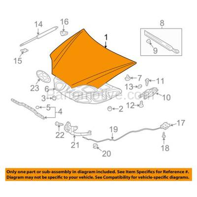 Aftermarket Replacement - HDD-1401 2007-2008 Hyundai Tiburon (GS, GT, GT Limited, GTP, SE) Coupe 2-Door (2.0 & 2.7 Liter Engine) Front Hood Panel Assembly Primed Steel - Image 3