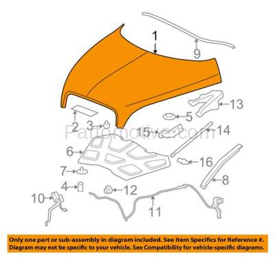 Aftermarket Replacement - HDD-1280 2006-2011 Chevy HHR (LS, LT, SS & Panel) 2.0 & 2.2 & 2.4 Liter Engine (Wagon 2 & 4-Door) Front Hood Panel Assembly Primed Steel - Image 3