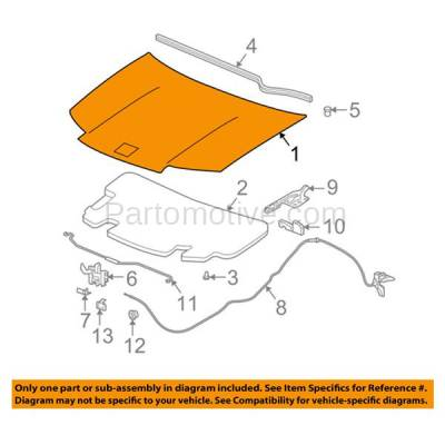 Aftermarket Replacement - HDD-1249 2003-2007 Saturn Ion (1, 2, 3) 2.2 & 2.4 Liter Engine (Sedan 4-Door) Front Hood Panel Assembly Primed Steel - Image 3