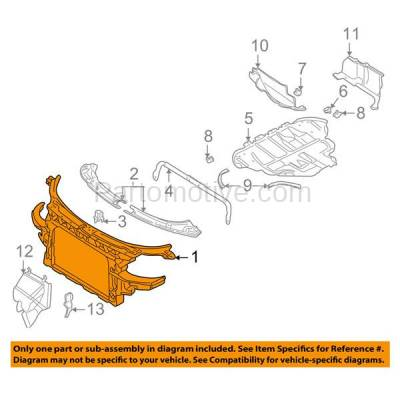 Aftermarket Replacement - RSP-1027 2000-2006 Audi TT & TT Quattro Coupe/Convertible (1.8 & 3.2 Liter Engine) Front Center Radiator Support Core Panel Assembly Plastic - Image 3
