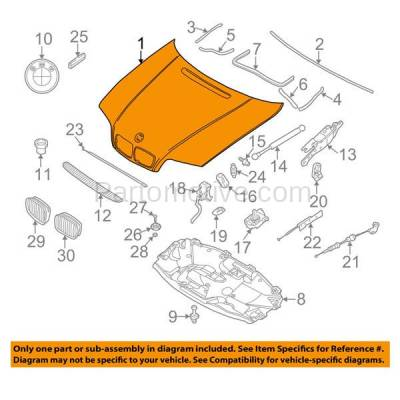 Aftermarket Replacement - HDD-1049 2005-2005 BMW 3-Series 320i/325i/325xi/330i/330xi (Sedan & Wagon 4-Door) Front Hood Panel Assembly Primed Steel - Image 3