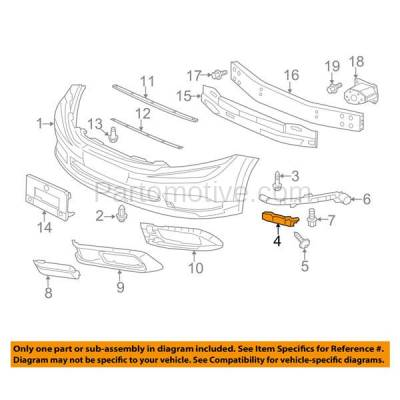 Aftermarket Replacement - BRT-1052FL & BRT-1052FR 2012-12 Civic Hybrid Sedan Front Bumper Cover Face Bar Spacer Retainer Mounting Brace Support Plastic SET PAIR Right Passenger & Left Driver Side - Image 3