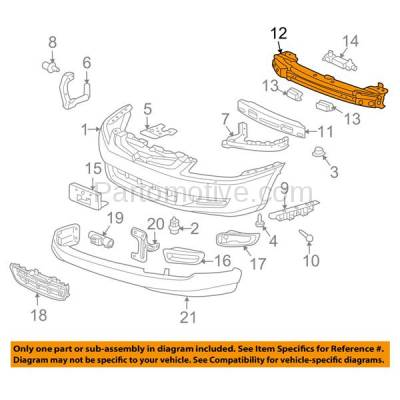 Aftermarket Replacement - BRF-1369FC 2003-2007 Honda Accord (3.0 Liter V6 Engine) (USA or Mexico Built) Front Bumper Impact Face Bar Crossmember Reinforcement Primed Steel - Image 3
