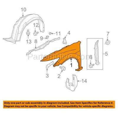Aftermarket Replacement - FDR-1782R 09-14 TSX Front Fender Quarter Panel Passenger Side RH AC1241120 60210TL0A91ZZ - Image 3