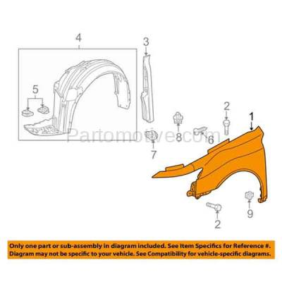 Aftermarket Replacement - FDR-1762L 09-14 TL Front Fender Quarter Panel Left Driver Side LH AC1240121 60260TK4A90ZZ - Image 3
