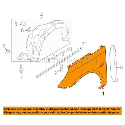 Aftermarket Replacement - FDR-1696R Front Fender Quarter Panel Passenger Side Fits 11-14 Sonata HY1241150 663213Q000 - Image 3