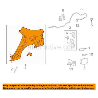 Aftermarket Replacement - FDR-1177L 2009-2013 Toyota Corolla (USA Built) Rear Fender Quarter Panel (with Holes for Vent Duct and Gas Door) Primed Steel Left Driver Side - Image 3