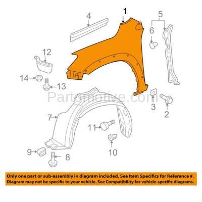Aftermarket Replacement - FDR-1605L 06-12 RAV-4 Front Fender Quarter Panel Left Driver Side LH TO1240209 538020R040 - Image 3