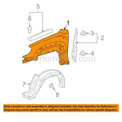 Aftermarket Replacement - FDR-1017L 2006-2009 Toyota 4Runner (Limited, Sport, SR5) Front Fender Quarter Panel (with Mudguard Provision) Steel Left Driver Side - Image 3
