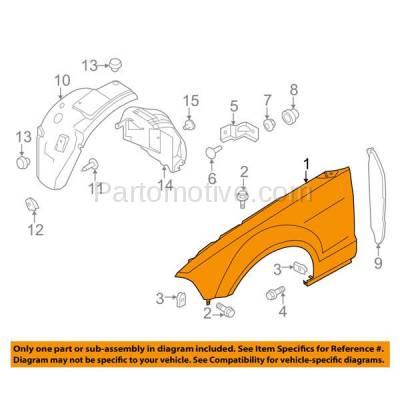 Aftermarket Replacement - FDR-1516R 10-14 Mustang Front Fender Quarter Panel Passenger Side RH FO1241282 AR3Z16005B - Image 3