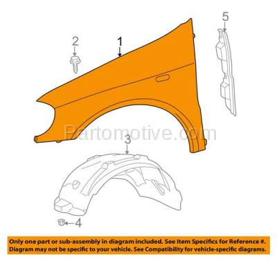 Aftermarket Replacement - FDR-1505L 02-05 ML-Class 163 Chassis Front Fender Quarter Panel Left Driver Side MB1240128 - Image 3