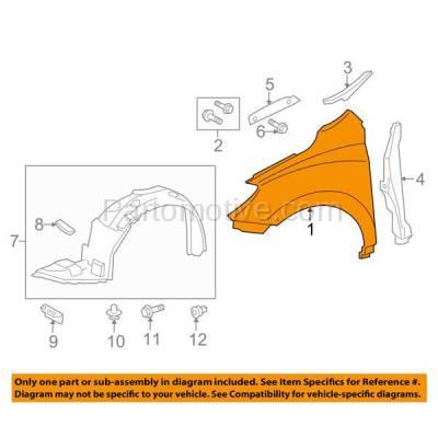 Aftermarket Replacement - FDR-1464R 09-13 Matrix Front Fender Quarter Panel Passenger Side RH TO1241226 5380102120 - Image 3