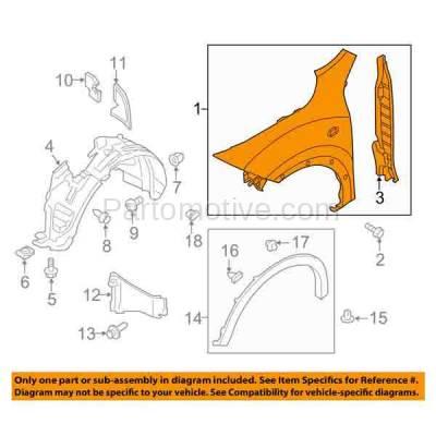 Aftermarket Replacement - FDR-1413R Front Fender Quarter Panel Passenger Side Fits 11-12 Juke NI1241200 FCA001KAMA - Image 3