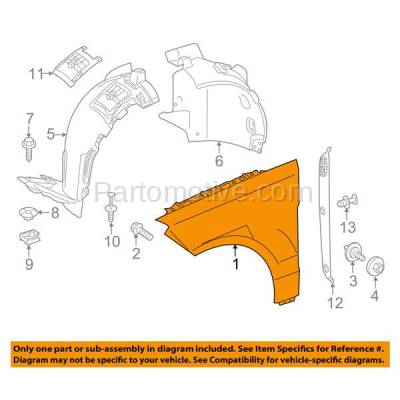 Aftermarket Replacement - FDR-1450L 12-15 ML-Class Front Fender Quarter Panel Left Driver Side MB1240138 1668802500 - Image 3