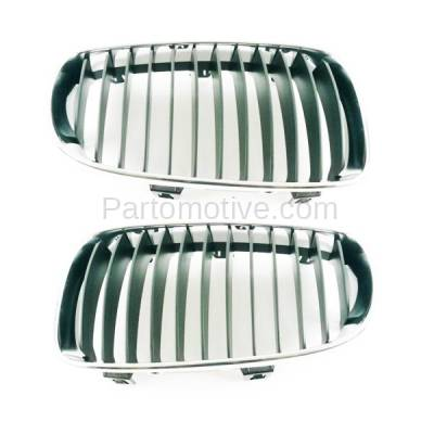 Aftermarket Replacement - GRL-1000L & GRL-1000R 2008-2013 BMW 1-Series (Convertible & Coupe) Front Grill Grille Assembly Chrome/Black Plastic SET PAIR Left Driver & Right Passenger Side - Image 2