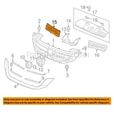 Aftermarket Replacement - GRL-1024R 13-15 Accord 4-DR Sedan Front Grill Grille Insert Assembly Right Passenger Side - Image 3
