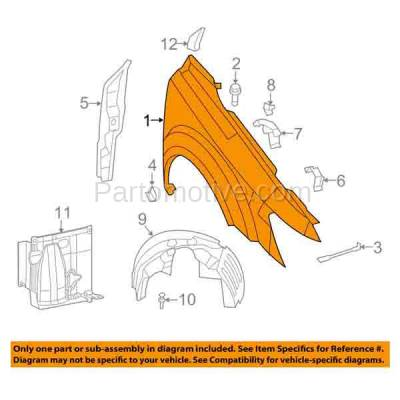 Aftermarket Replacement - FDR-1412R 2009-2020 Dodge Journey (2.4 & 3.5 & 3.6 Liter Engine) Front Fender Quarter Panel (without Molding Holes) Primed Steel Right Passenger Side - Image 3