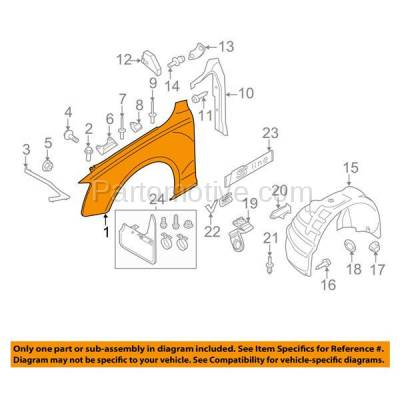 Aftermarket Replacement - FDR-1046R 2008-2017 Audi A5/A5 Quattro & S5 (Coupe & Convertible 2-Door) Front Fender Quarter Panel Primed Steel Right Passenger Side - Image 3