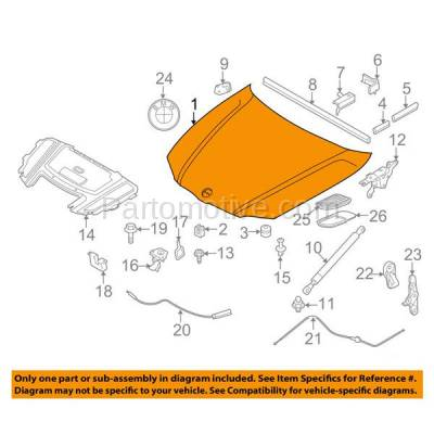 Aftermarket Replacement - HDD-1059 2007-2010 BMW 3-Series (328i/328xi/335i/335xi & xDrive) Convertible & Coupe 2-Door (3.0 Liter V6 Engine) E92 Front Hood Panel Assembly Primed Steel - Image 3