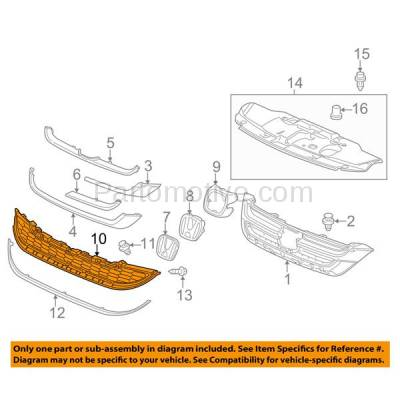 Aftermarket Replacement - GRL-1859C CAPA 10-11 CRV USA/Mexico Blt Front Lower Grill Grille HO1200205 71123SXSA01 - Image 3
